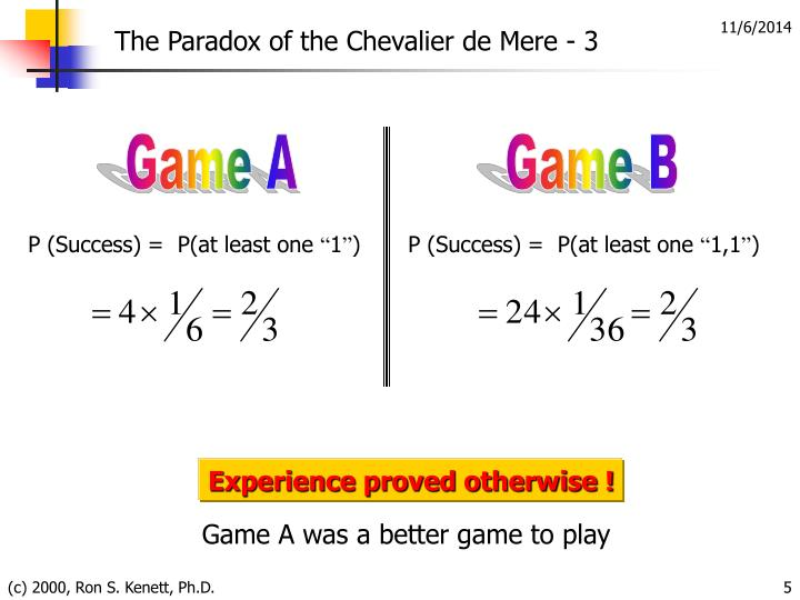 The Paradox of the Chevalier de Mere - 3
