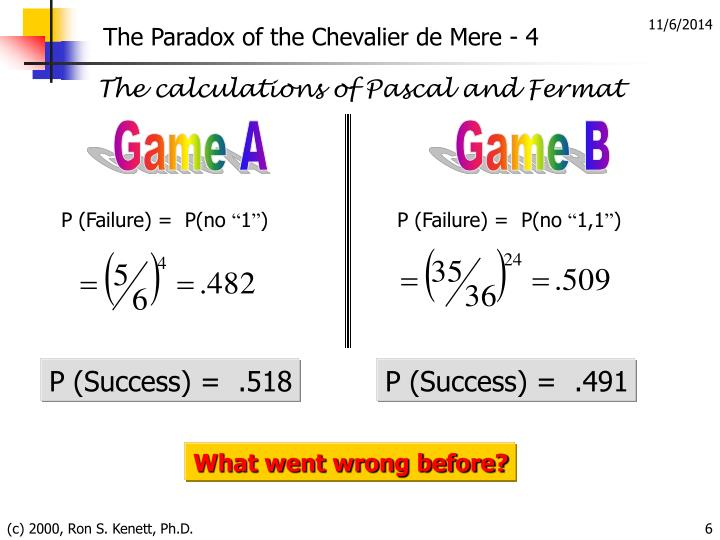 The Paradox of the Chevalier de Mere - 4