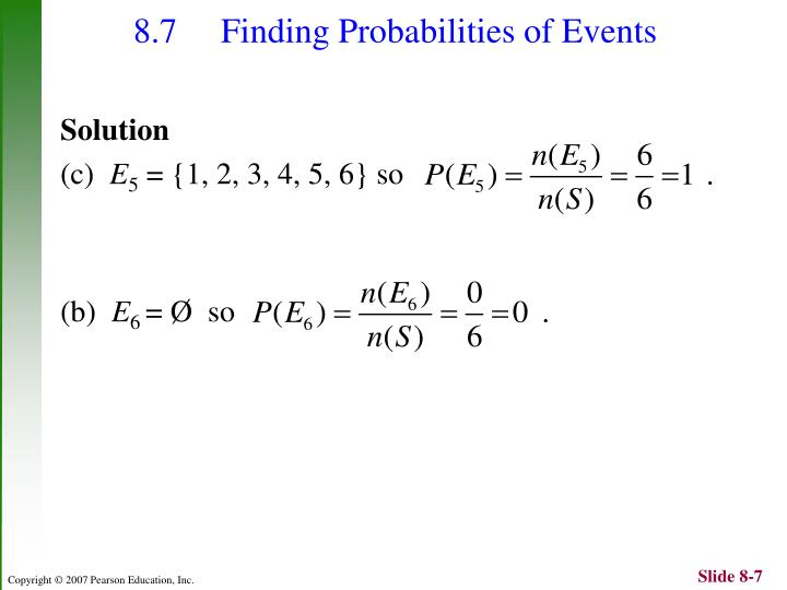 8.7  Finding Probabilities of Events