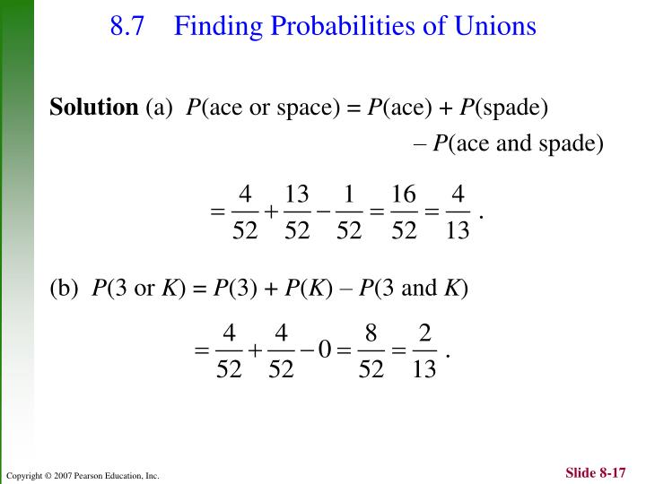 8.7 Finding Probabilities of Unions