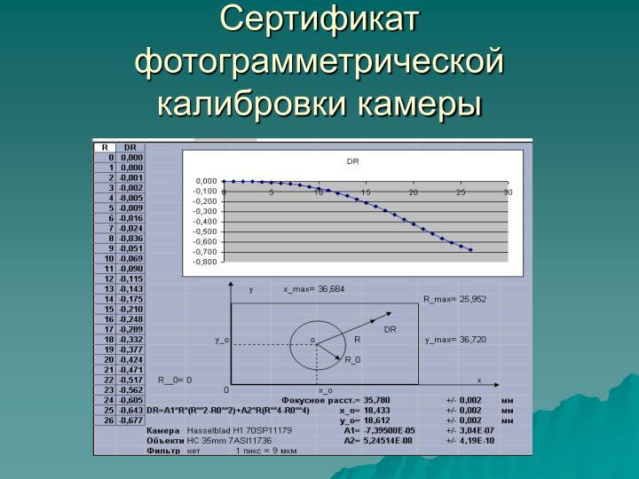 Сертификат фотограмметрической калибровки камеры