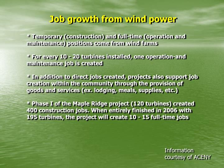 Job growth from wind power