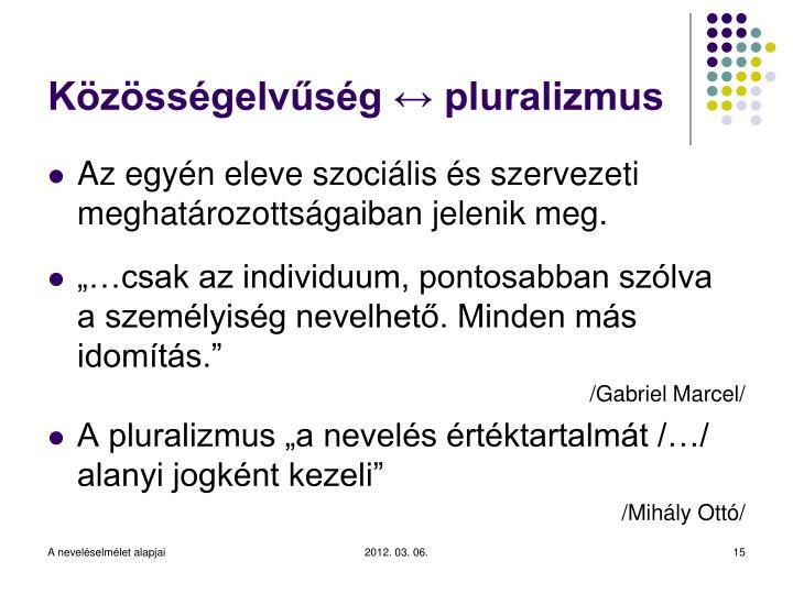 Közösségelvűség ↔ pluralizmus