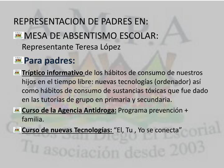 REPRESENTACION DE PADRES EN: