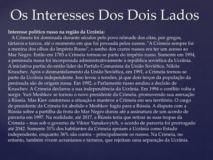 Interesse político russo na região da Ucrânia