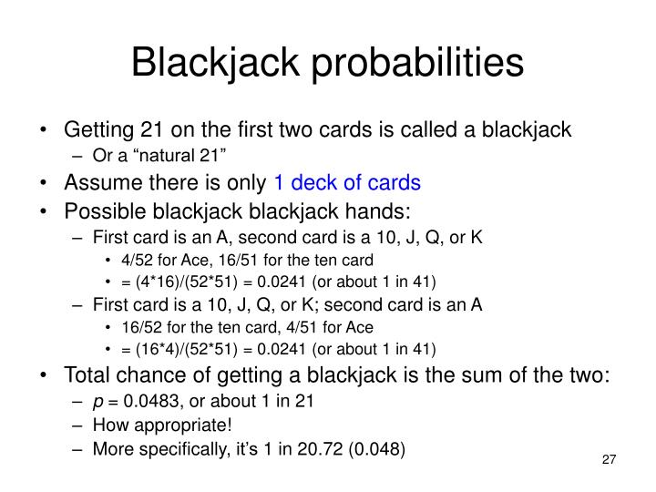 Blackjack probabilities