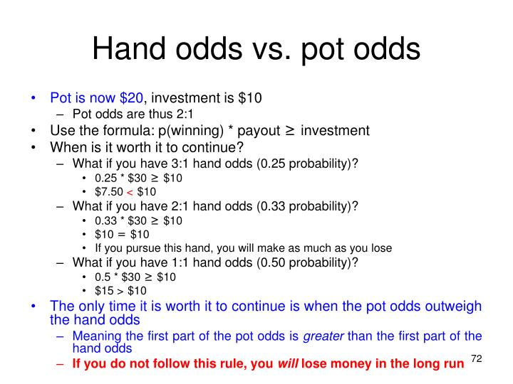 Hand odds vs. pot odds