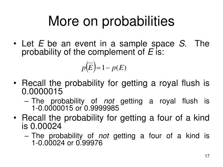 More on probabilities
