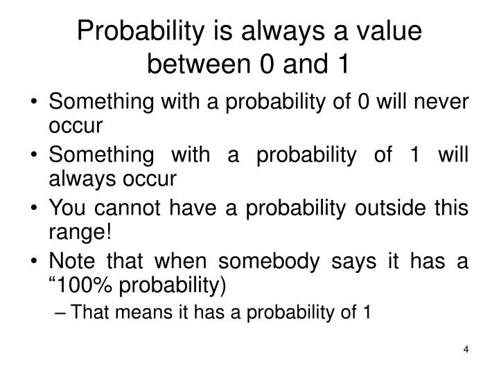 Probability is always a value between 0 and 1