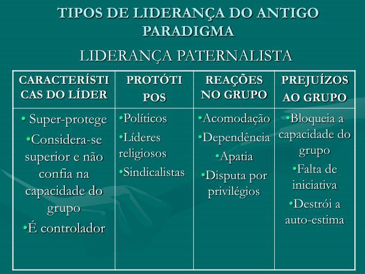 TIPOS DE LIDERANÇA DO ANTIGO PARADIGMA