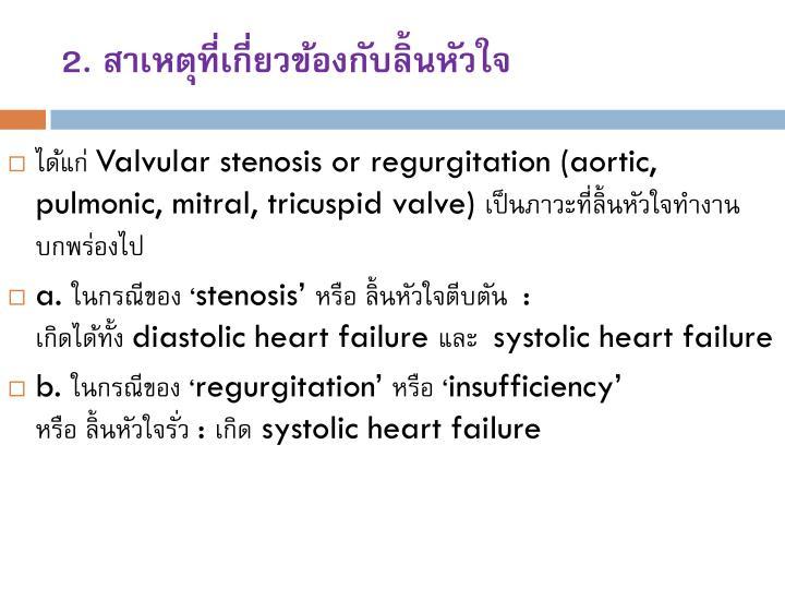 2. สาเหตุที่เกี่ยวข้องกับลิ้นหัวใจ