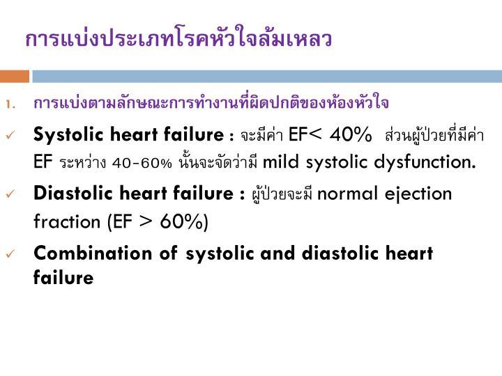 การแบ่งประเภทโรคหัวใจล้มเหลว