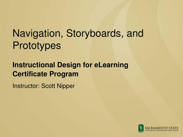 Navigation storyboards and prototypes
