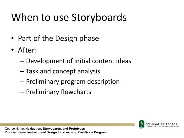 When to use Storyboards