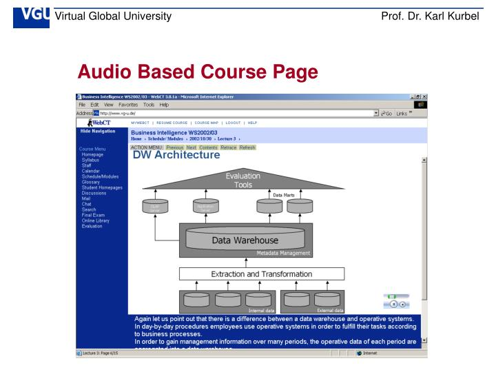 Audio Based Course Page
