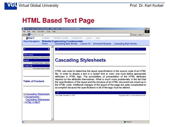 HTML Based Text Page