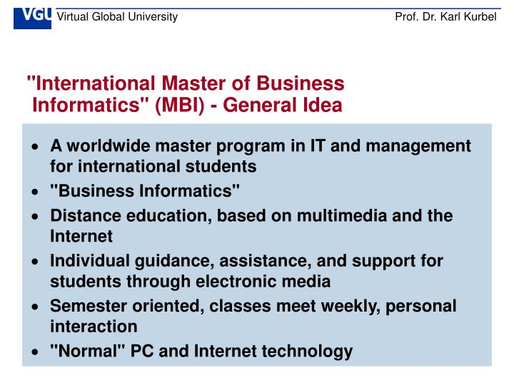 """International Master of Business"