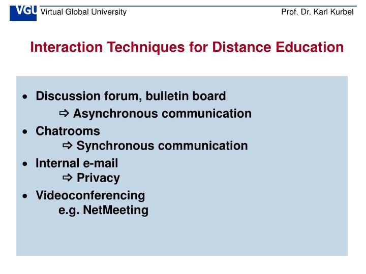 Interaction Techniques for Distance Education