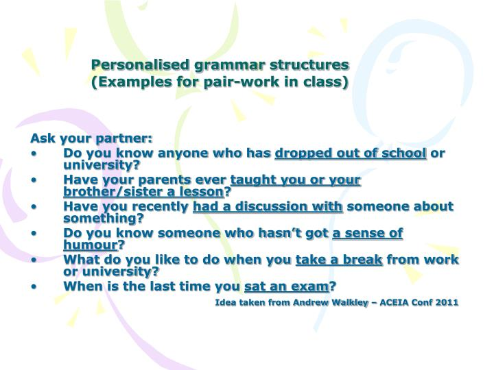 Personalised grammar structures