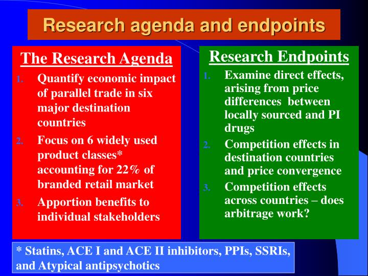Research agenda and endpoints