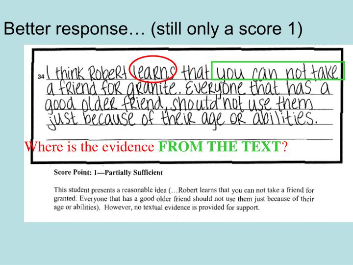 Better response… (still only a score 1)