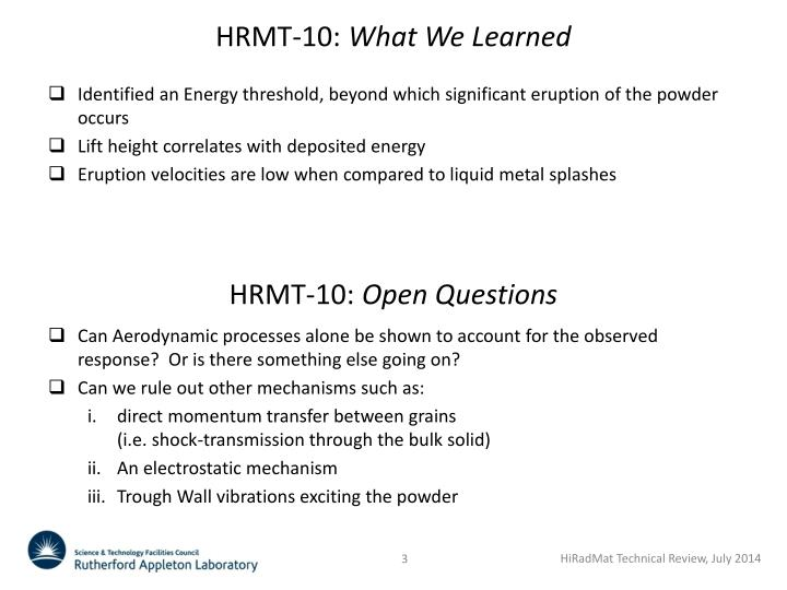 Hrmt 10 what we learned