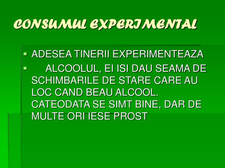 CONSUMUL EXPERIMENTAL