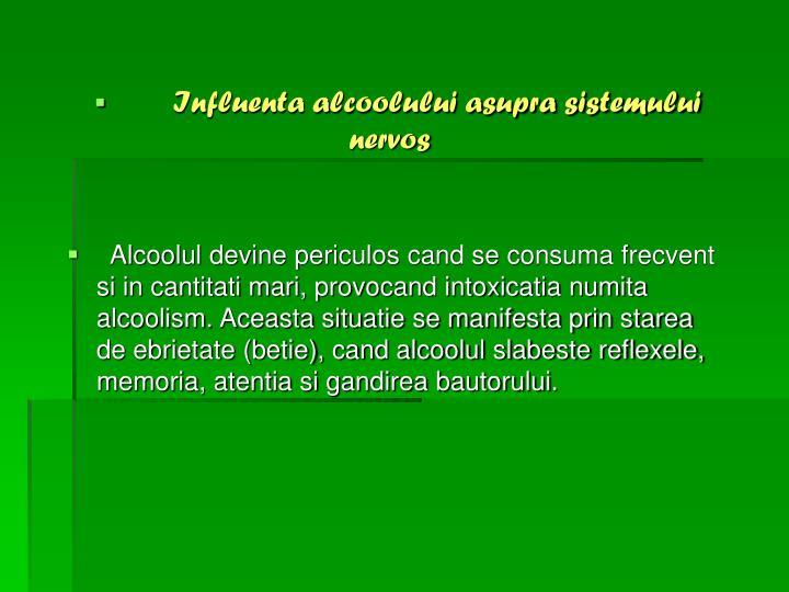 Influenta alcoolului asupra sistemului nervos