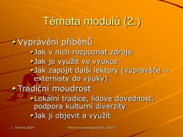 Témata modulů (2.)