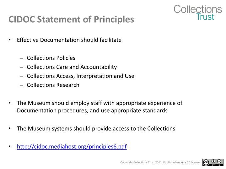 CIDOC Statement of Principles