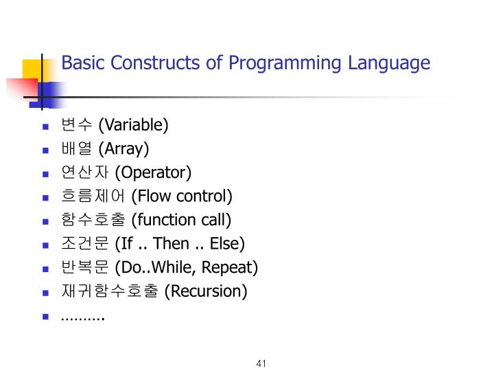 Basic Constructs of Programming Language