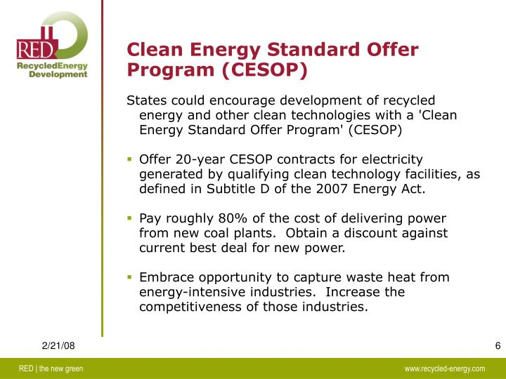 Clean Energy Standard Offer Program (CESOP)