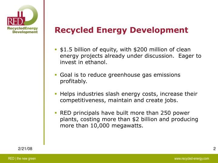 Recycled Energy Development