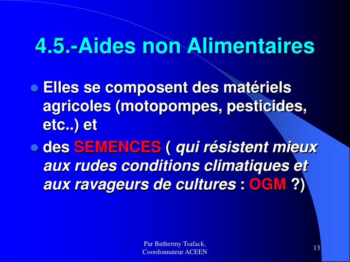 4.5.-Aides non Alimentaires