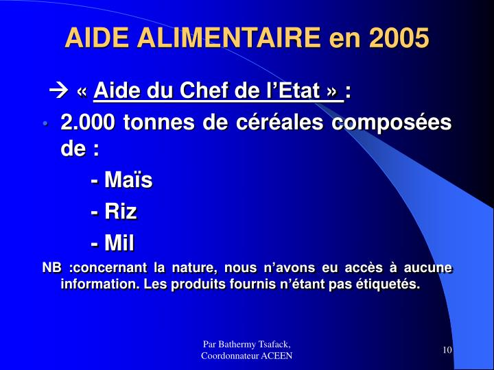 AIDE ALIMENTAIRE en 2005