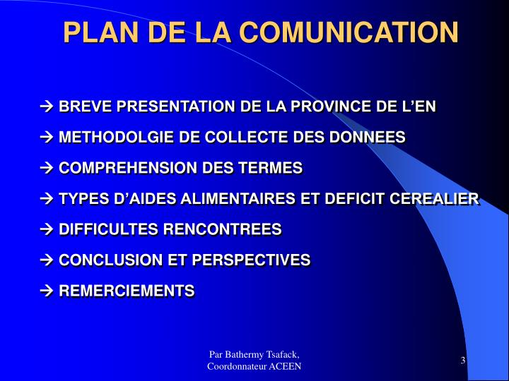 PLAN DE LA COMUNICATION