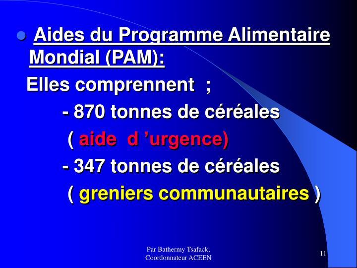Aides du Programme Alimentaire Mondial (PAM):