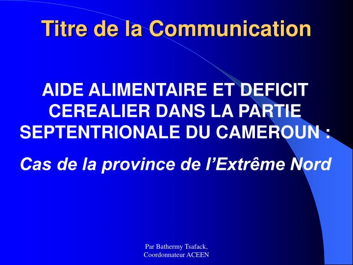 Titre de la Communication