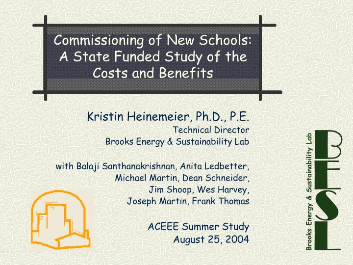 Commissioning of new schools a state funded study of the costs and benefits