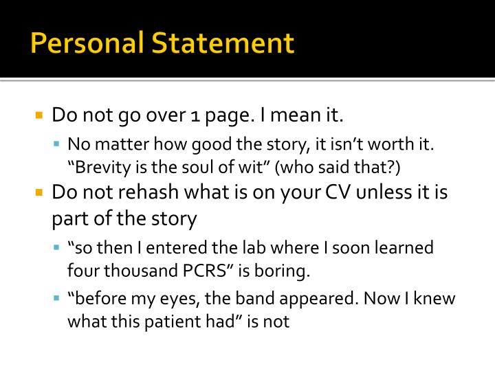 how to start a personal statement about yourself