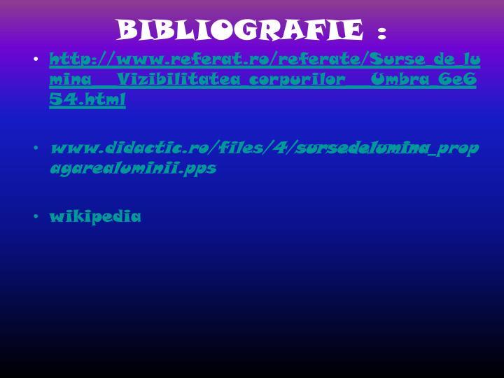 BIBLIOGRAFIE :