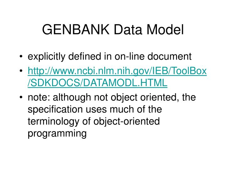 GENBANK Data Model