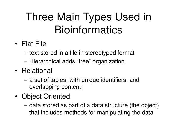 Three Main Types Used in Bioinformatics