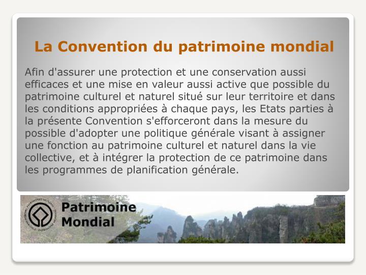 La Convention du patrimoine mondial