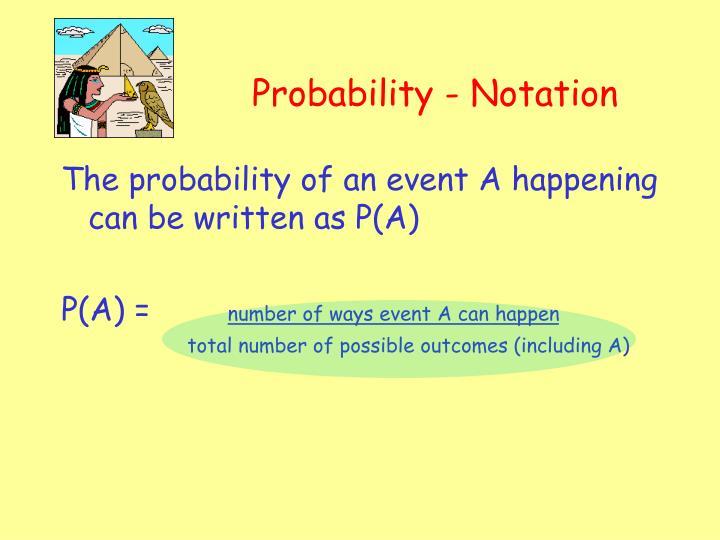 Probability - Notation