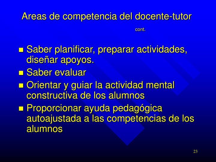 Areas de competencia del docente-tutor