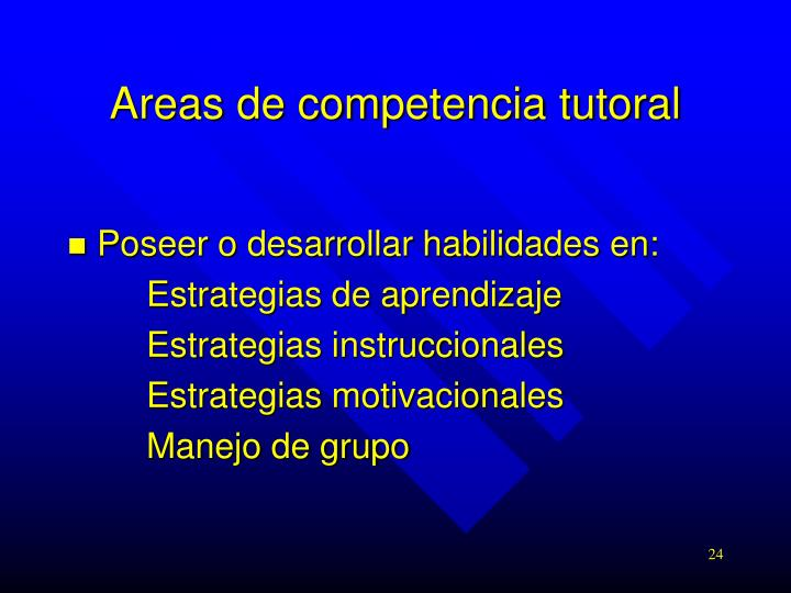 Areas de competencia tutoral