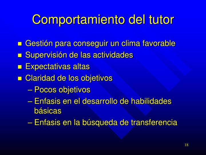 Comportamiento del tutor