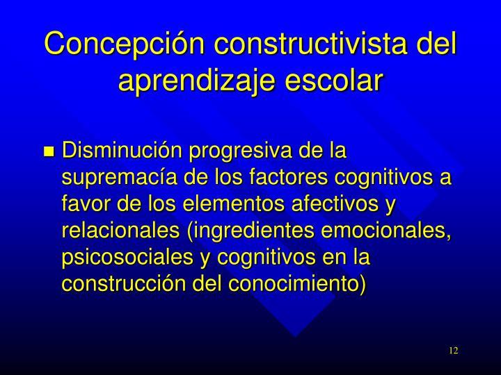 Concepción constructivista del aprendizaje escolar