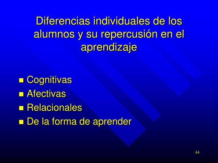 Diferencias individuales de los alumnos y su repercusión en el aprendizaje